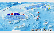 Flag Panoramic Map of Fiji, physical outside
