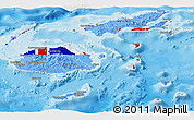 Flag Panoramic Map of Fiji, political shades outside