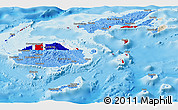 Flag Panoramic Map of Fiji, shaded relief outside