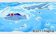 Flag Panoramic Map of Fiji, single color outside, bathymetry sea
