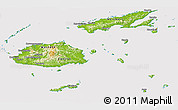 Physical Panoramic Map of Fiji, cropped outside