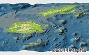 Physical Panoramic Map of Fiji, darken