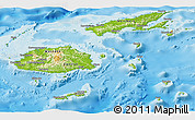 Physical Panoramic Map of Fiji, political shades outside, shaded relief sea