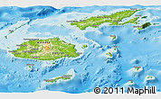 Physical Panoramic Map of Fiji, satellite outside, shaded relief sea