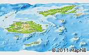 Physical Panoramic Map of Fiji, shaded relief outside