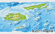 Physical Panoramic Map of Fiji, single color outside