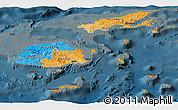 Political Panoramic Map of Fiji, darken