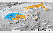 Political Panoramic Map of Fiji, desaturated