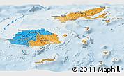 Political Panoramic Map of Fiji, lighten
