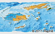 Political Panoramic Map of Fiji, satellite outside, bathymetry sea