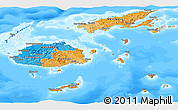 Political Panoramic Map of Fiji, semi-desaturated, land only