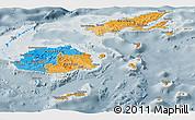Political Panoramic Map of Fiji, semi-desaturated