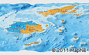 Political Panoramic Map of Fiji, shaded relief outside, bathymetry sea