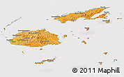Political Shades Panoramic Map of Fiji, cropped outside