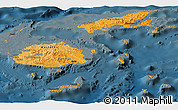 Political Shades Panoramic Map of Fiji, darken
