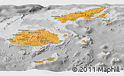 Political Shades Panoramic Map of Fiji, desaturated