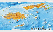Political Shades Panoramic Map of Fiji, physical outside