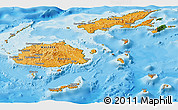 Political Shades Panoramic Map of Fiji, satellite outside, bathymetry sea