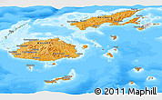 Political Shades Panoramic Map of Fiji, semi-desaturated, land only