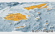 Political Shades Panoramic Map of Fiji, semi-desaturated