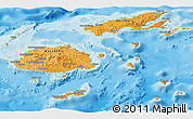Political Shades Panoramic Map of Fiji, shaded relief outside, bathymetry sea