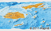 Political Shades Panoramic Map of Fiji, single color outside