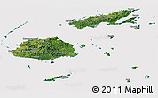 Satellite Panoramic Map of Fiji, cropped outside