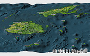 Satellite Panoramic Map of Fiji, darken