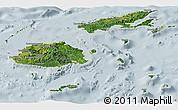 Satellite Panoramic Map of Fiji, lighten