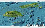 Satellite Panoramic Map of Fiji, physical outside, satellite sea