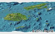 Satellite Panoramic Map of Fiji, political shades outside, satellite sea