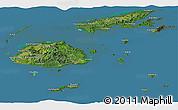 Satellite Panoramic Map of Fiji, semi-desaturated, land only