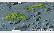 Satellite Panoramic Map of Fiji, semi-desaturated