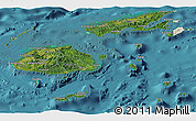 Satellite Panoramic Map of Fiji, shaded relief outside, satellite sea