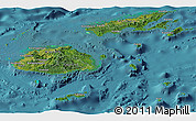 Satellite Panoramic Map of Fiji, single color outside