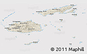 Shaded Relief Panoramic Map of Fiji, cropped outside
