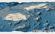 Shaded Relief Panoramic Map of Fiji, darken