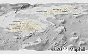Shaded Relief Panoramic Map of Fiji, desaturated