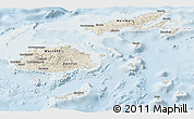 Shaded Relief Panoramic Map of Fiji, lighten