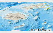 Shaded Relief Panoramic Map of Fiji, physical outside