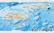 Shaded Relief Panoramic Map of Fiji, satellite outside, shaded relief sea