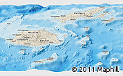 Shaded Relief Panoramic Map of Fiji, semi-desaturated, land only