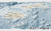 Shaded Relief Panoramic Map of Fiji, semi-desaturated