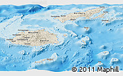Shaded Relief Panoramic Map of Fiji, single color outside