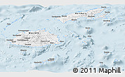 Silver Style Panoramic Map of Fiji