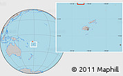 Gray Location Map of Rotuma, within the entire country