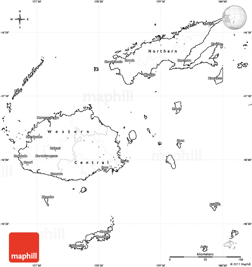 Blank Simple Map Of Fiji