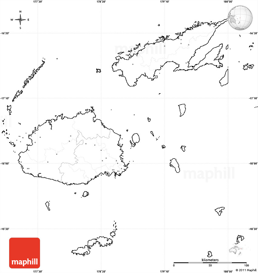 Blank Simple Map Of Fiji No Labels