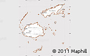 Classic Style Simple Map of Fiji, cropped outside
