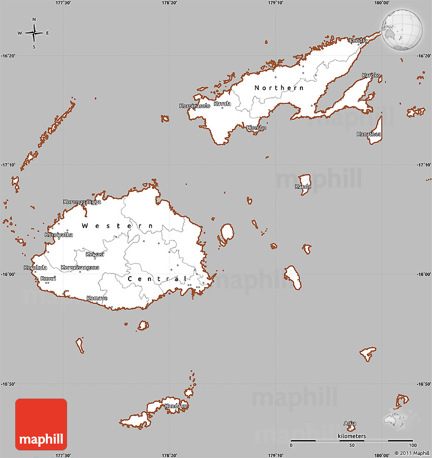 Gray Simple Map Of Fiji Cropped Outside